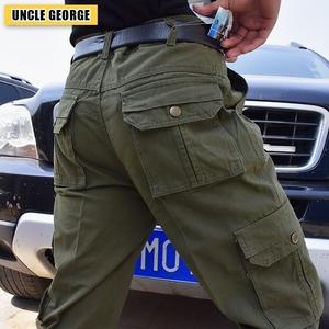 Mất phúc lợi của nam giới overalls bông mỏng phần đa túi quần âu nam giới kích thước lớn lỏng thẳng làm việc quần