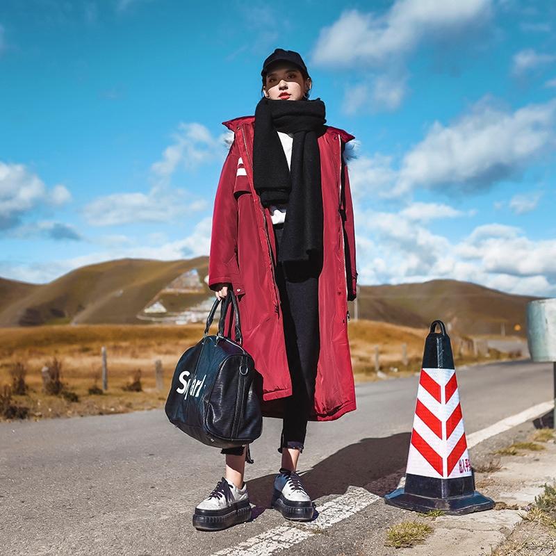 S nhà gốc của phụ nữ mùa đông Hàn Quốc phiên bản của phần dài trên đầu gối bông quần áo ins bông ulzzang cotton jacket chic áo khoác