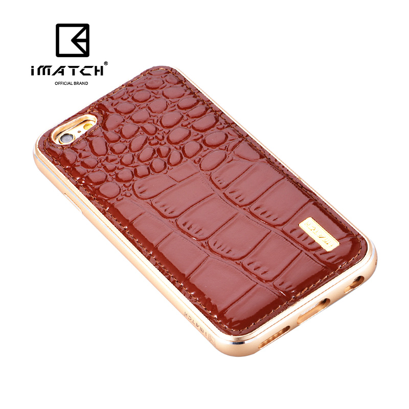 iMatch Luxury Aluminum Metal Bumper Premium Crocodile Grain Genuine Leather Back Cover Case for Apple iPhone 6S/6 & iPhone 6S