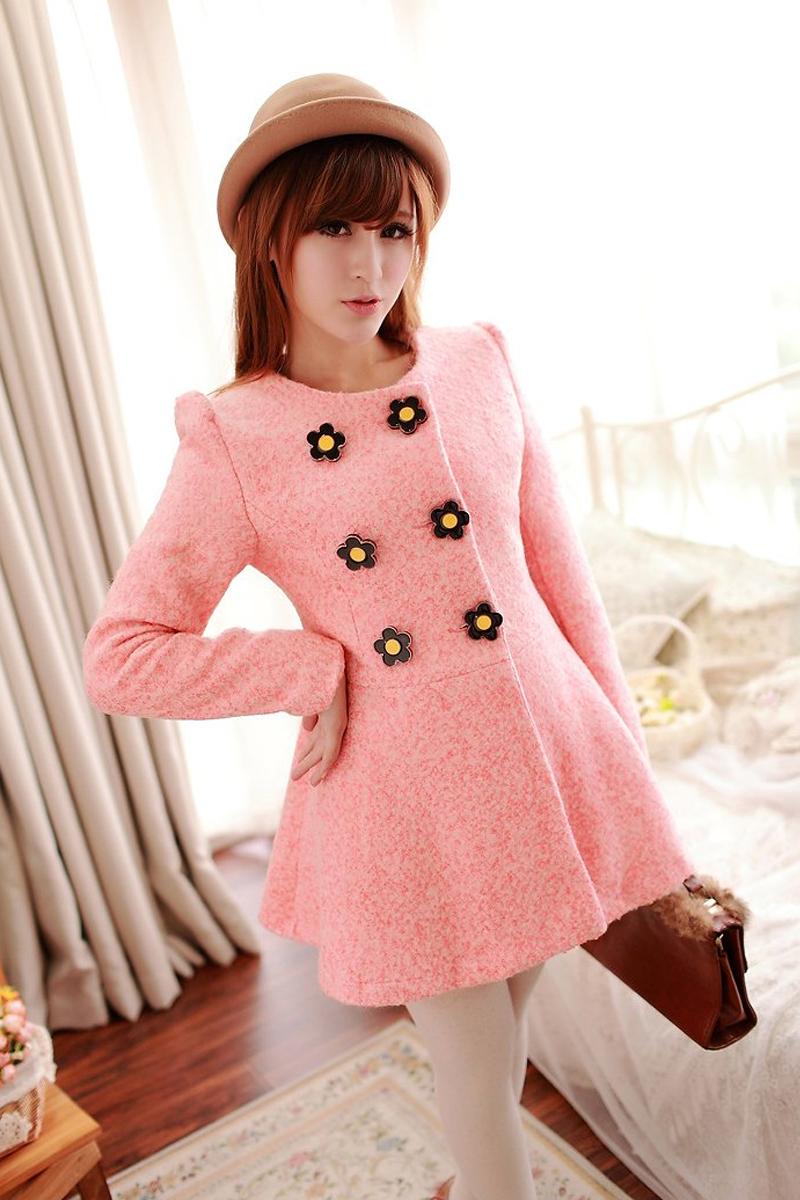 2017 mùa thu và mùa đông Hàn Quốc phiên bản của nhỏ tươi đôi ngực lớn con lắc ngọt tính khí eo là mỏng trong dài len áo khoác nữ
