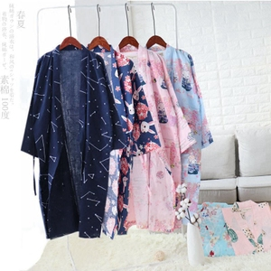 Mùa xuân và mùa hè gạc mỏng nightdress nam cardigan dài đoạn áo bông đôi yukata nữ phong cách Nhật Bản gió đồ ngủ hoa