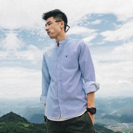 吕小虎秋季男装 欧美日系条纹衬衣男士立领修身纯棉长袖衬衫男潮