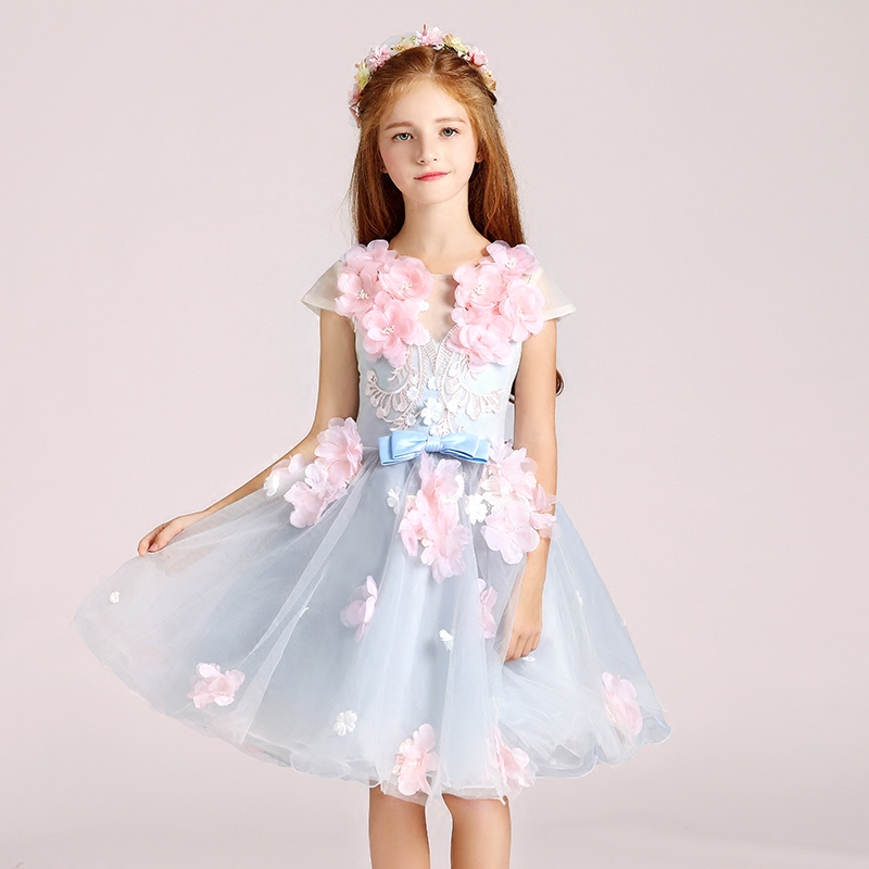 Trẻ em ăn mặc váy cô gái công chúa váy pettiskirt hoa cô gái váy cưới bữa tiệc sinh nhật máy chủ nhỏ đàn piano trang phục