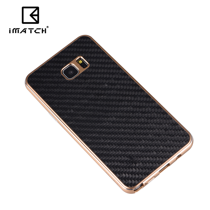 iMatch Luxury Aluminum Metal Bumper Carbon Fiber Back Cover Case for Samsung Galaxy Note 5 N9200
