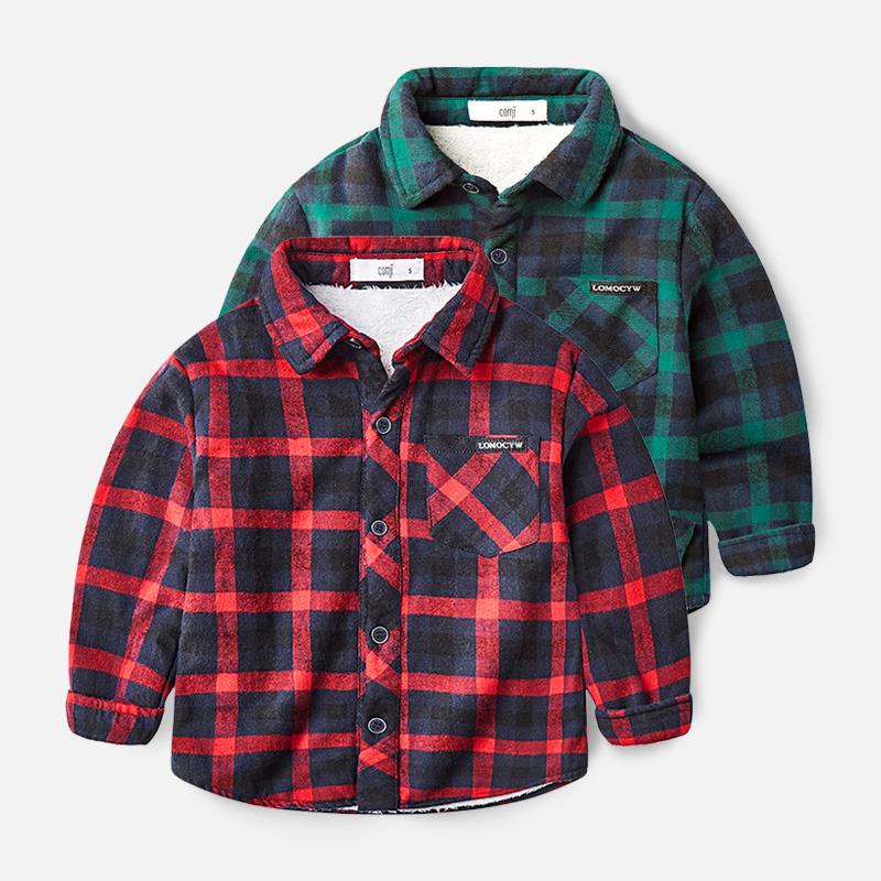 男童红格子衬衫冬季宝宝加绒冬装男小童翻领上衣内穿男宝宝衬衣潮