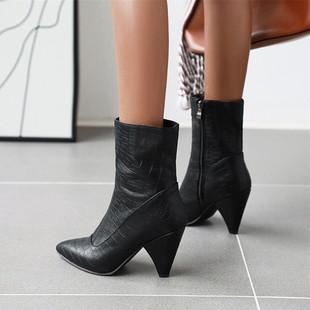 Европа и мода красивый крокодил ботинки мартин сапоги наконечник молния на высоком кабгалстук-бабочкае ботинки большой двор 44 45 46 47