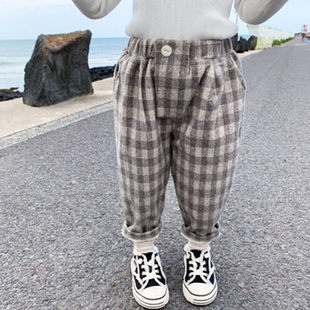 2020 children's winter clothes new plus velvet plaid Korean children's woolen trousers, baby long pants 7009