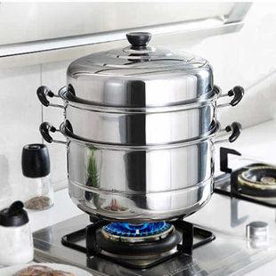 不锈钢蒸锅三层双2层加厚蒸笼汤锅大号蒸锅