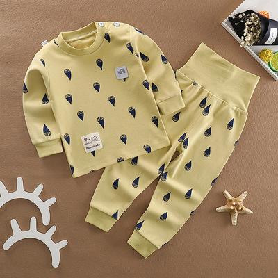 婴儿秋衣秋裤套装春秋保暖纯棉男女儿童宝宝衣服高腰护肚内衣裤