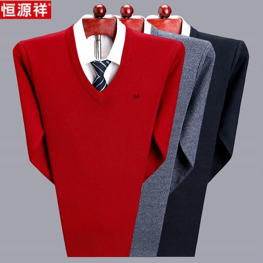 Áo len cashmere Hengyuanxiang áo len nam cổ chữ V lớn màu đỏ trung niên và cha trẻ dệt kim áo len áo len thủy triều - Hàng dệt kim