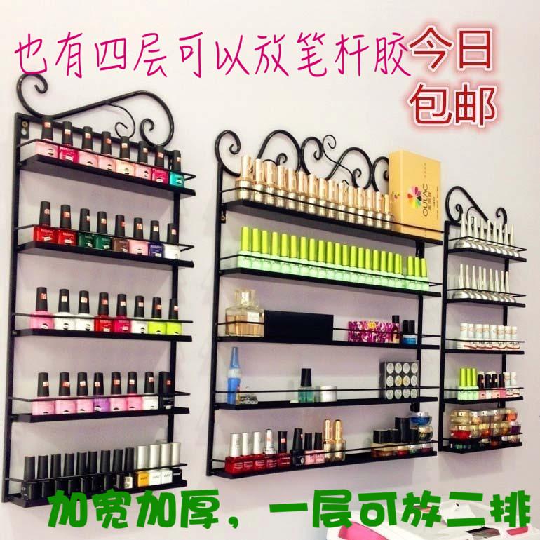美甲架壁挂指甲油架子铁艺 甲油胶置物展示柜化妆品口红收纳货架