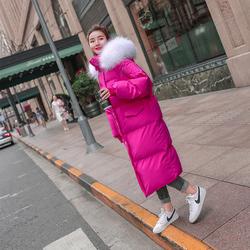 亮色羽绒棉服2020年新款女冬中长款东北大棉袄加厚超厚玫红色棉衣