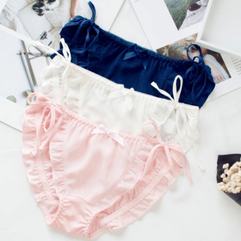 Nhật Bản dễ thương quần lót ren nữ sữa lụa dây đeo phong cách cung cô gái béo bên trong mềm cô gái nấm tam giác - Cặp đôi