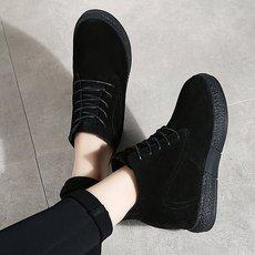 2018冬季新款靴子男鞋透气潮鞋二层猪皮人造长毛绒骑士靴人造短毛