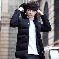 9818#男士棉衣修身棉袄加厚中长款2017冬季新款韩版潮流棉服外套
