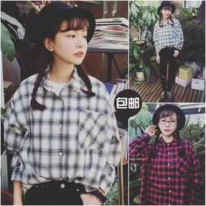 2017新款黑白百搭学院风长袖棉麻衬衫女学生韩范格子宽松
