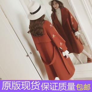 秋冬新款韩版刺绣灯笼袖收腰毛呢外套女中长款宽松过膝呢子大衣女