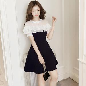 夏季连衣裙女2017新款修身韩版拼接短袖蕾丝撞色荷叶边小清新裙子