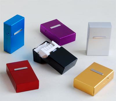 铝合金20支装 创意金属磁石感应翻盖防压香菸盒 硬软壳 装整包烟