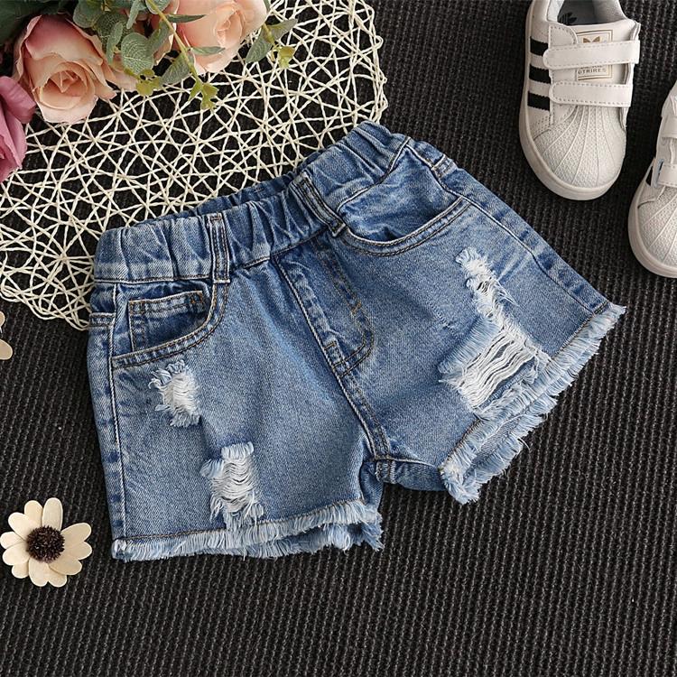 Cô gái quần short denim lỗ mùa hè 5 cô gái 6 thời trang 8 trẻ em quần áo 9 trẻ em lớn 10 Hàn Quốc phiên bản 12 tuổi cũ phần nóng quần