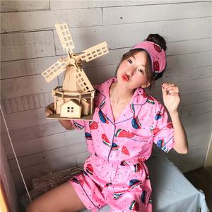 實拍實價9871# 夏季新款時尚漢堡睡衣短袖家居服套裝女
