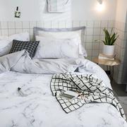 Ins cẩm thạch cotton đơn giản Bắc Âu bộ đồ giường 4 bốn bộ bông gió lạnh sinh viên ba bộ mô hình giường