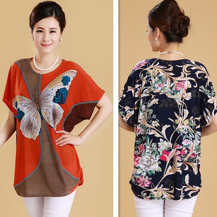 Phụ nữ trung niên mùa hè ăn mặc cộng với phân bón chất béo XL mẹ nạp trung niên của phụ nữ ngắn tay t-shirt XL lụa sữa