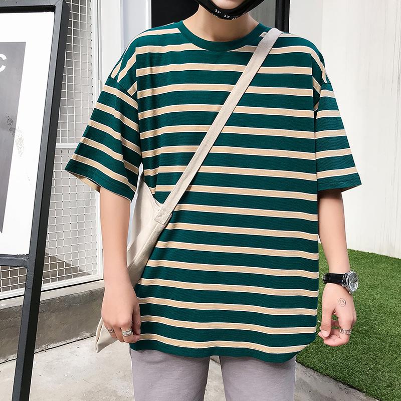 港风夏季新款条纹撞色短袖T恤男士韩版休闲宽松半袖体恤打底衫潮
