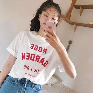 现货。韩国chic 2018夏季新款白色字母印花短袖T恤上衣