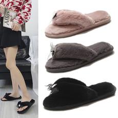 冬季 拖鞋 平底 平跟 绒面 毛毛 女拖鞋 5-982P38