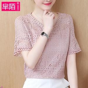 2018 mùa hè mới Hàn Quốc phiên bản của ren phổ biến trên quần áo trumpet tay áo khí voan áo sơ mi ngắn tay T-Shirt phụ nữ
