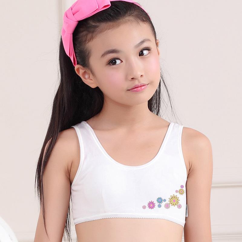 Drums Tongfa Yu Mori Girl Underwear Childrens Midterm Primary Text Bra Cotton Vest -6594