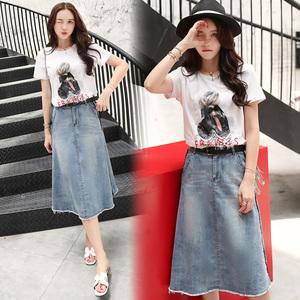 2018夏季新品女式两件套装韩版休闲牛仔短裙圆领T恤YCS8137P155