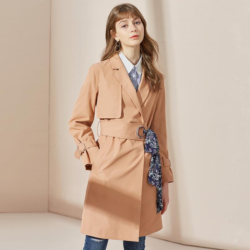 双排扣气质中长款风衣外套女衣香丽影2018春装新款小香风系带修身
