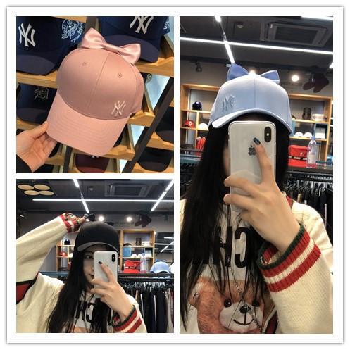 MLB Hàn Quốc quầy xác thực 18 new head bow cơ sở màu rắn mũ bóng chày cap nữ mô hình