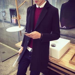 2016秋季韩版单排扣长款长袖男风衣英伦气质修身显瘦外套潮男大衣