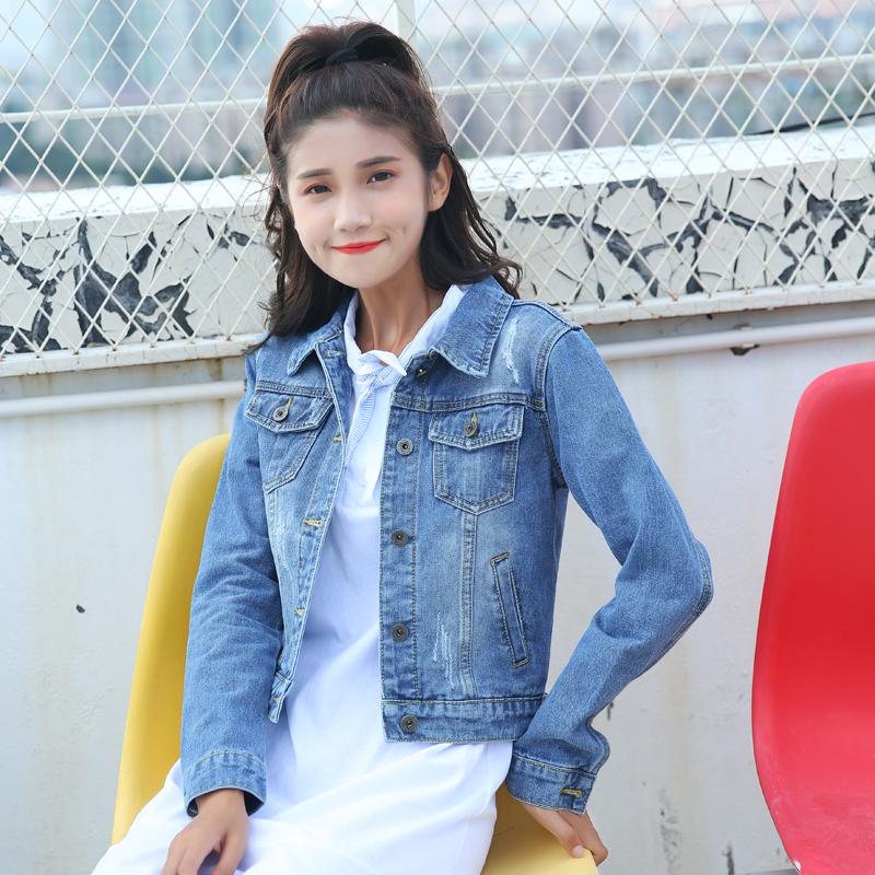 117#春秋新款韩版修身牛仔外套女短款学生百搭显瘦牛仔褂上衣夹克
