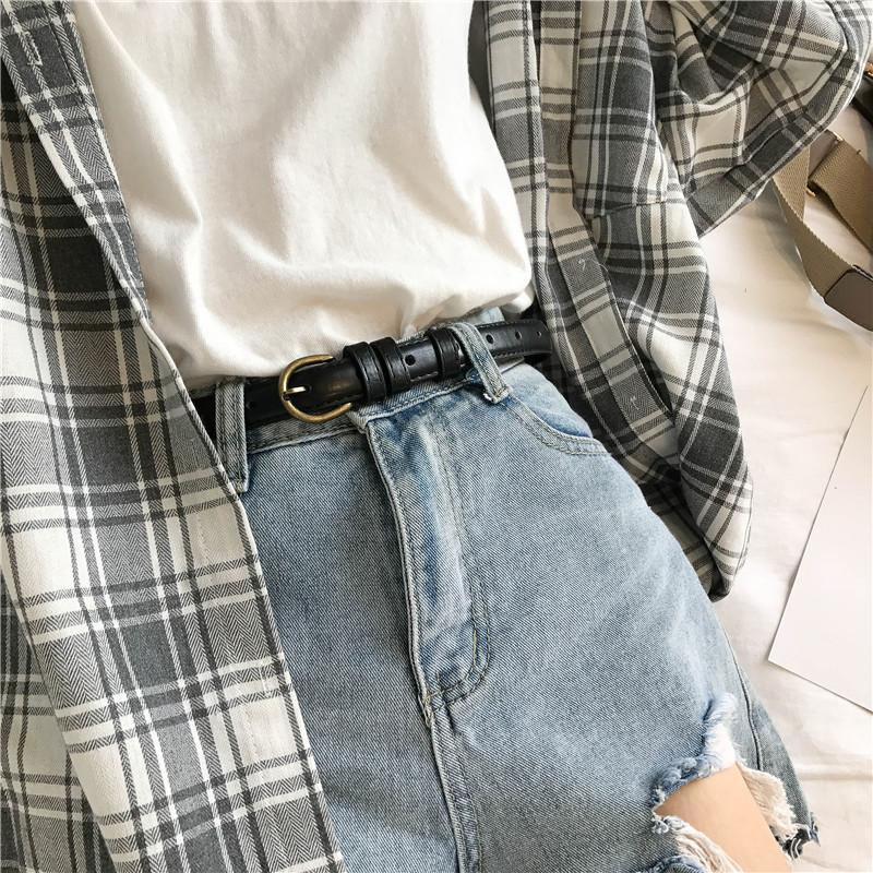 复古学生小皮带简约百搭韩国bf风装饰细腰带配裙chic女士牛仔裤带