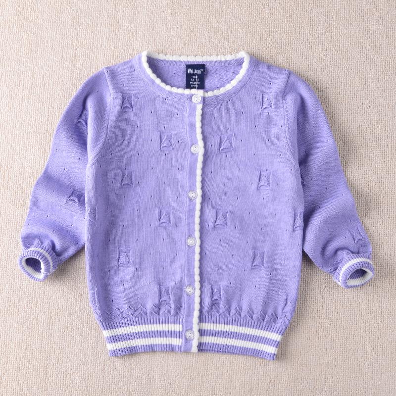 2017年春季新款中小童纯棉钩花镂空针织开衫外套小披肩