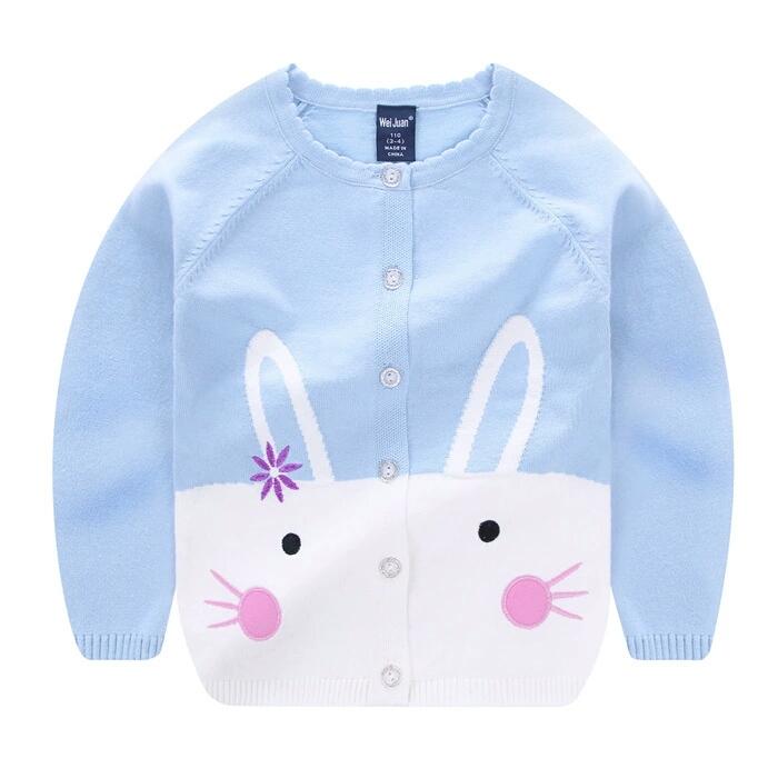 2018新款毛衣 女童开扣衫细毛线刺绣花朵 韩版中小童棉针织衫爆款