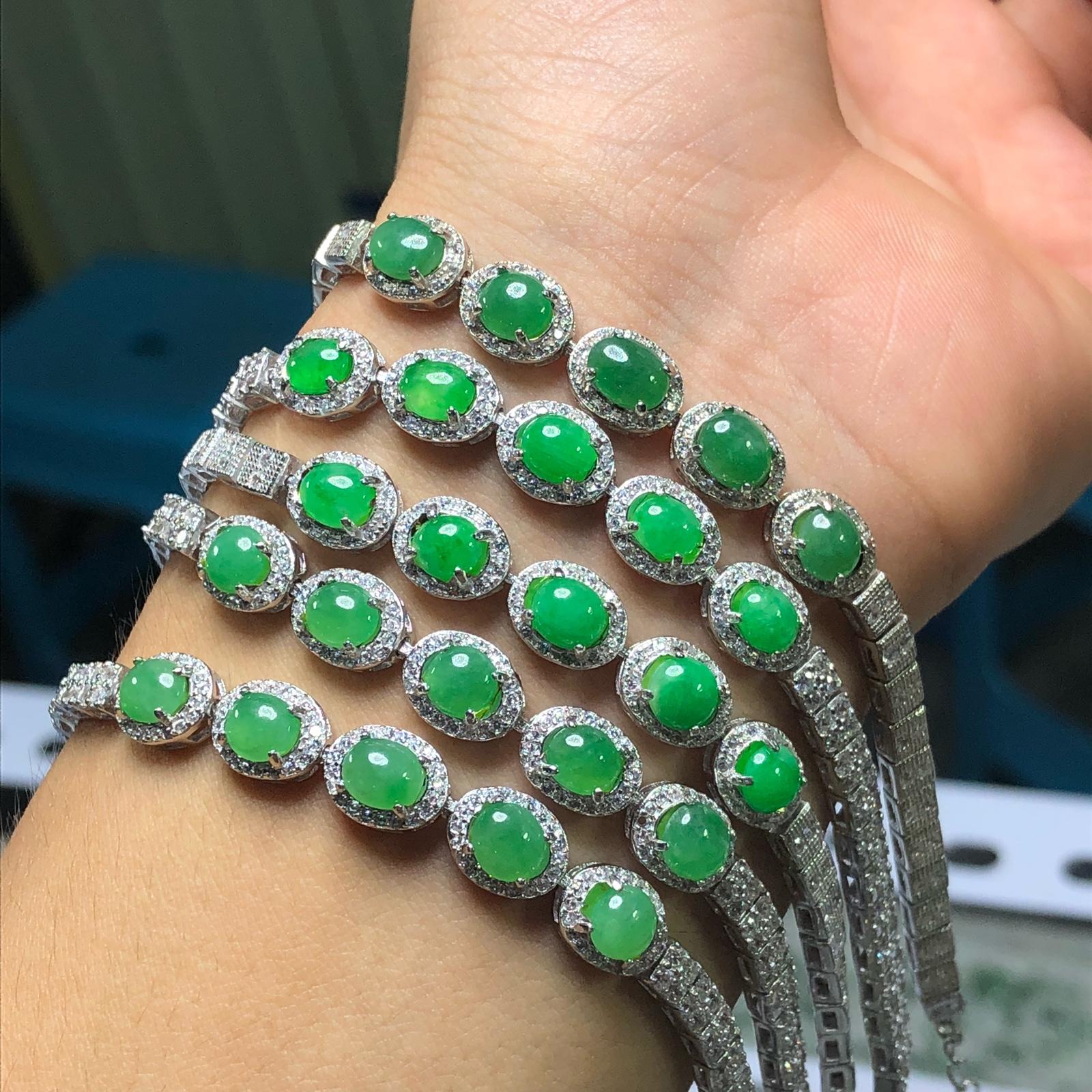 s925银镶嵌 缅甸翡翠a货天然 满绿豪华手链 玉石珠宝首饰