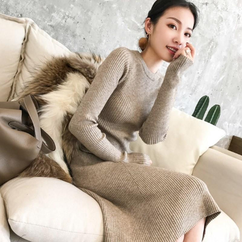 2018冬季新款针织裙打底中长款毛衣裙过膝加厚修身显瘦针织连衣裙