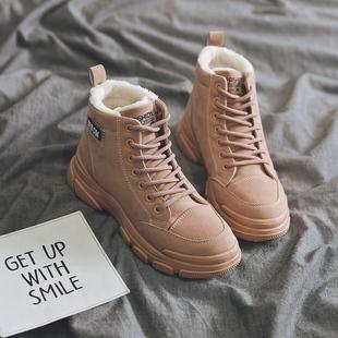 女鞋2019秋冬季新款马丁靴学生保暖加绒加厚女棉鞋百搭平底雪地靴