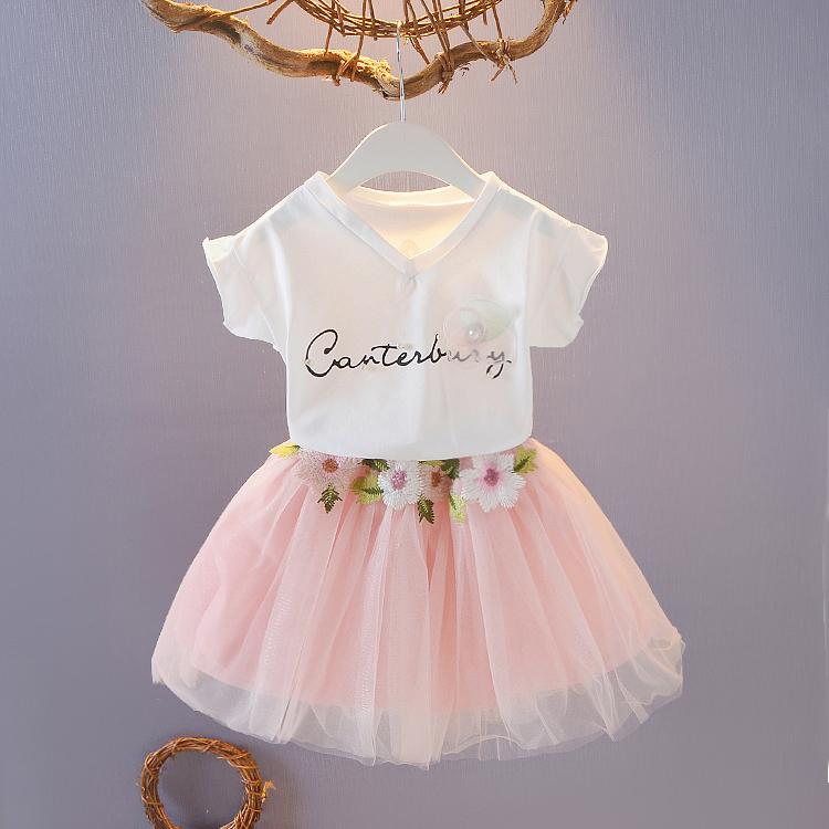 Quần áo trẻ em cô gái ngắn- tay phù hợp với bông áo sơ mi + tutu 2 mảnh bộ cô gái mùa hè Hàn Quốc váy công chúa váy