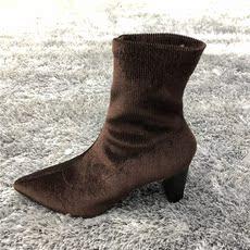 尖头细高跟透气飞织女短靴一脚蹬袜子短靴