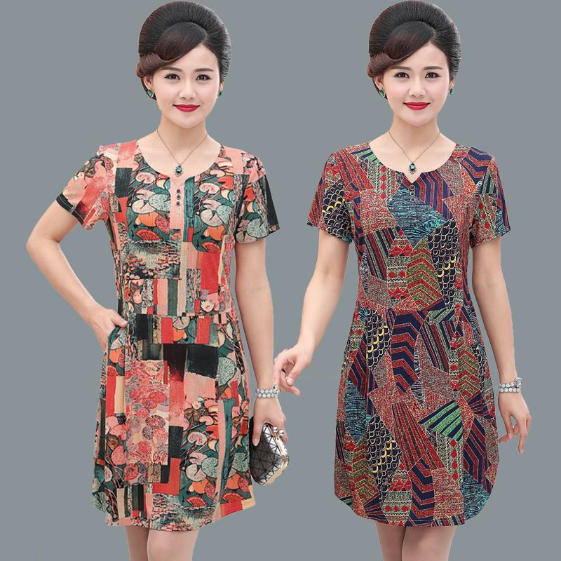Mùa hè trung niên của phụ nữ ngắn tay ăn mặc bốn mươi tuổi người phụ nữ kích thước lớn mẹ nạp váy in dài