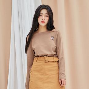 安妮陈秋装长袖韩版一字领宽松刺绣T恤