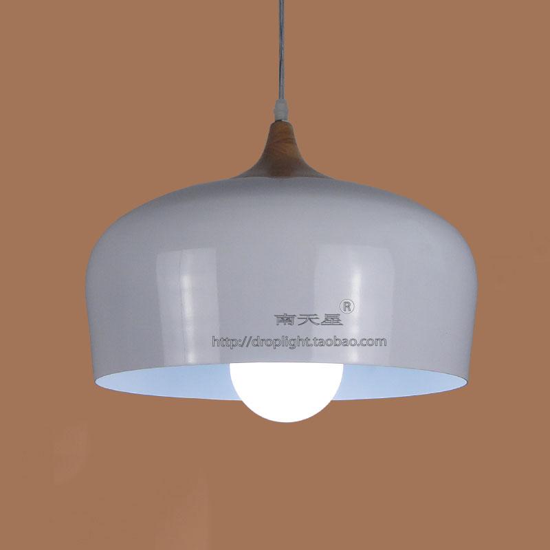 韩式白色吊灯店铺装饰港式茶餐厅吊灯实木白色铝材锅盖单头吊灯