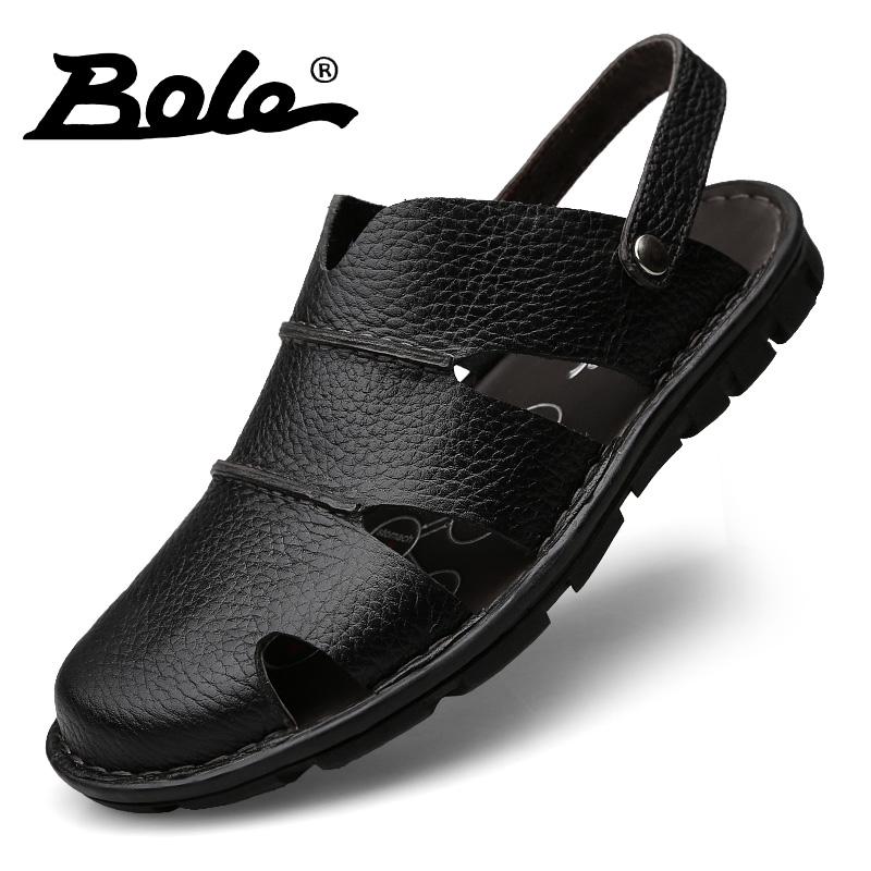 天天特价新款男凉鞋透气头层牛皮包头手工沙滩鞋防滑可二穿凉拖鞋