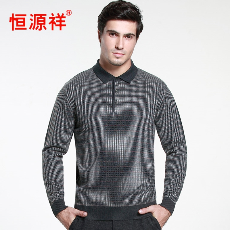 Áo len nam Hengyuanxiang phần mỏng 2016 mùa xuân ve áo len nguyên chất áo len dài tay áo len nam - Áo len